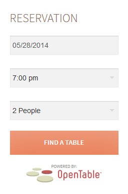 OpenTable Sidebar widget