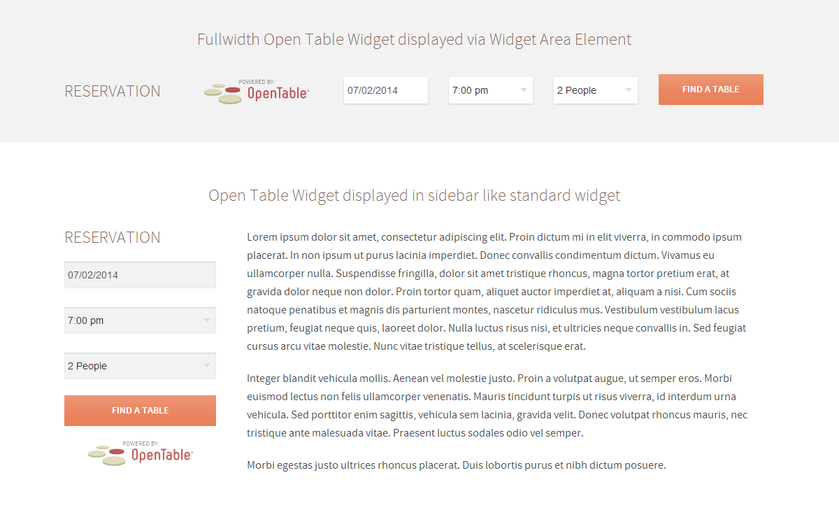 Open Table Widget in Sidebar and Content