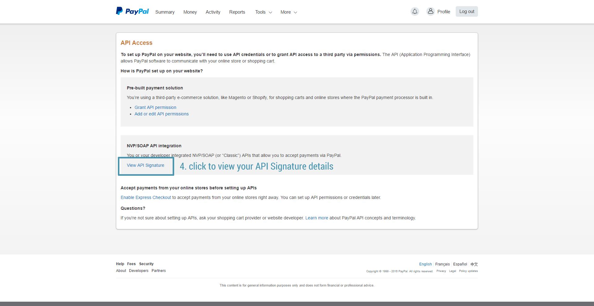 Get PayPal API step 3