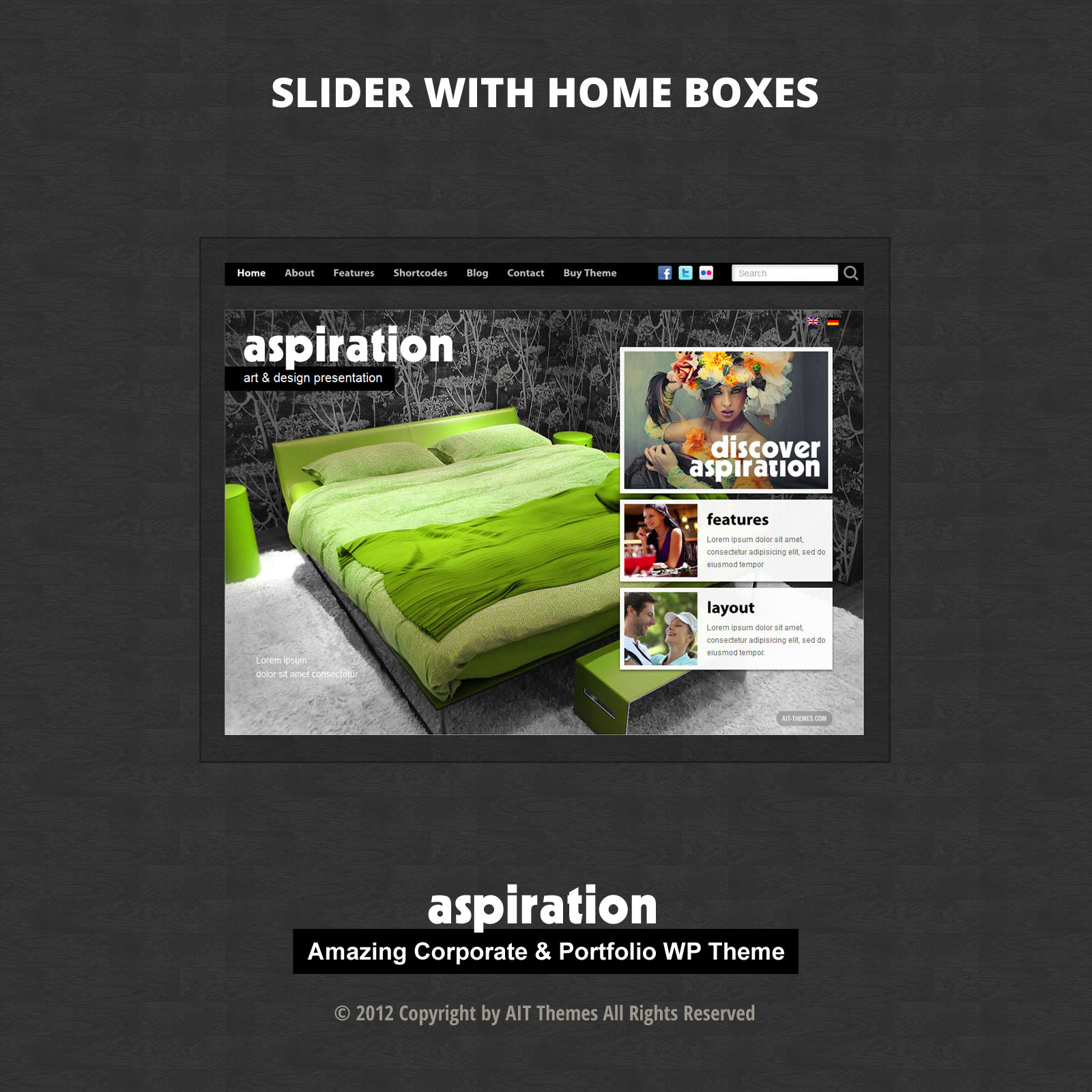 Content with Slider & Home Boxes