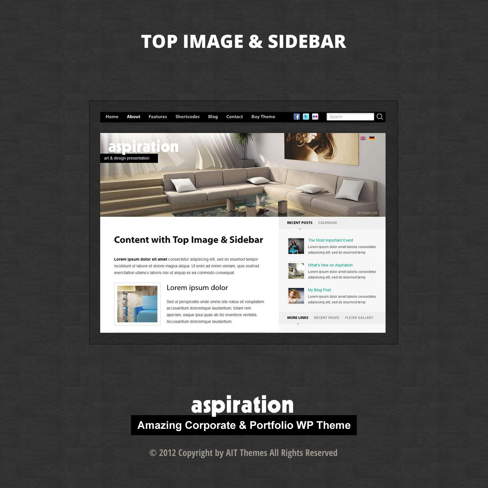 Съдържание с изображения отгоре & странична лента