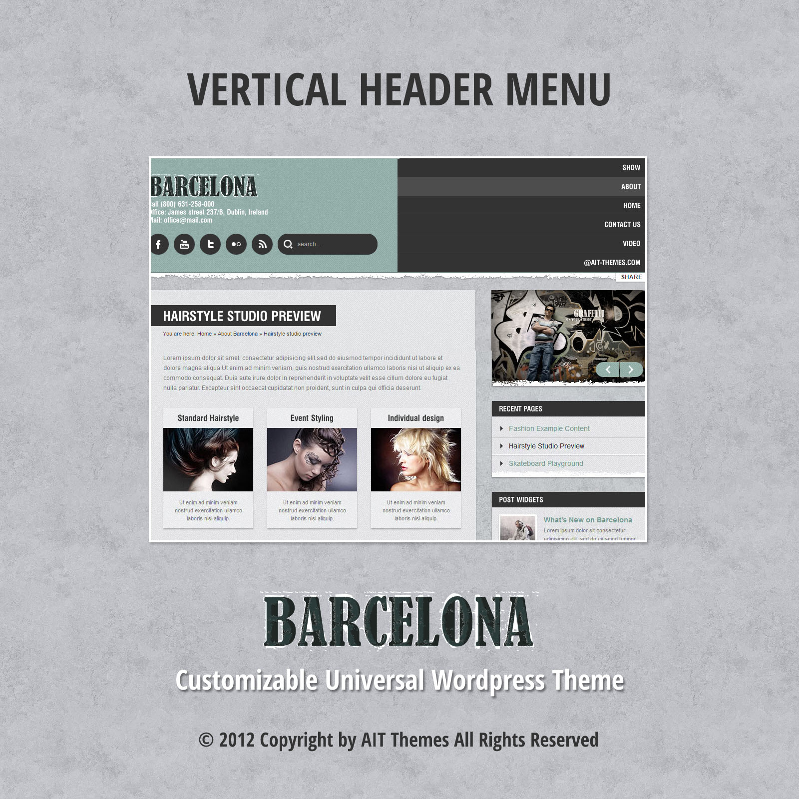 Lodret header menu
