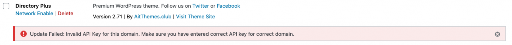 Old API key invalid notification