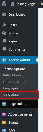 "AIT Updater under ""Theme Admin"" menu item"