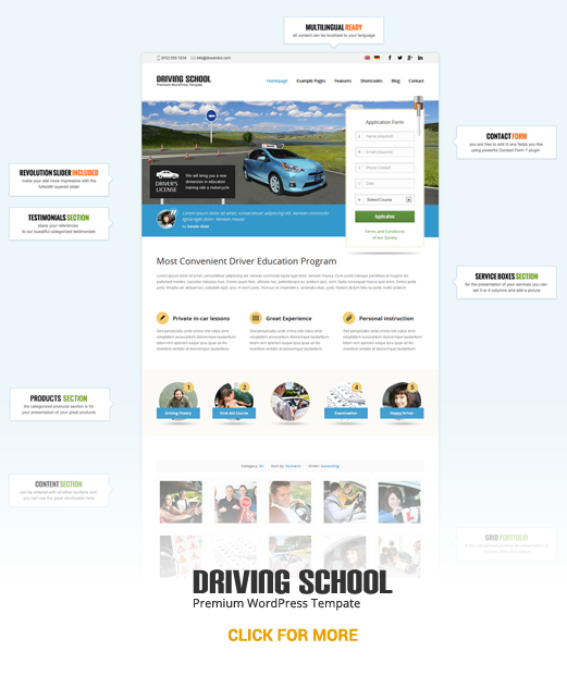 Driving School WordPress Theme | Theme for Small Business