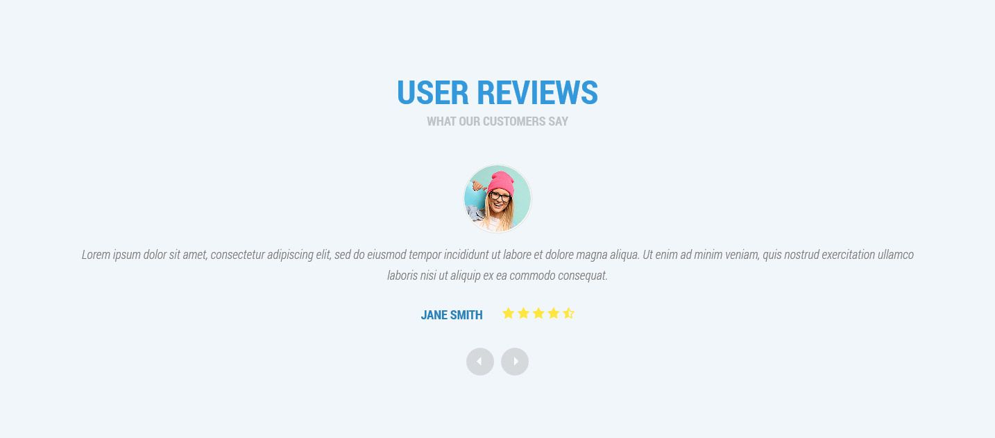 Customers and users testimonials One Page Wordpress theme