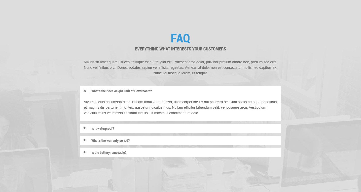 FAQ section One Page Wordpress theme