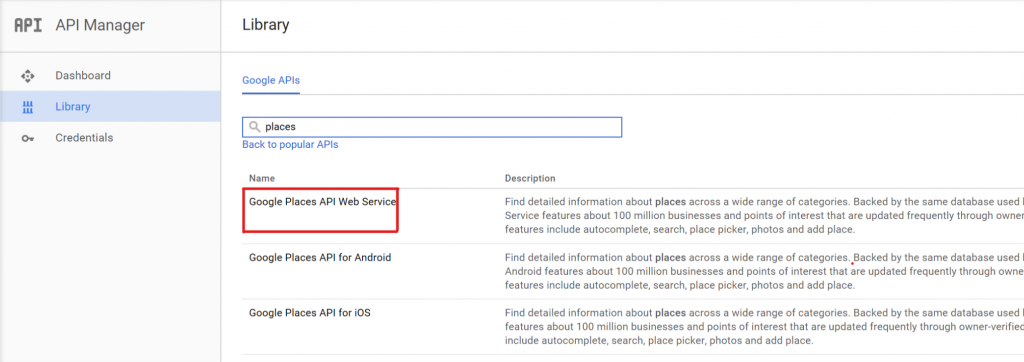 Google Places API Web Service