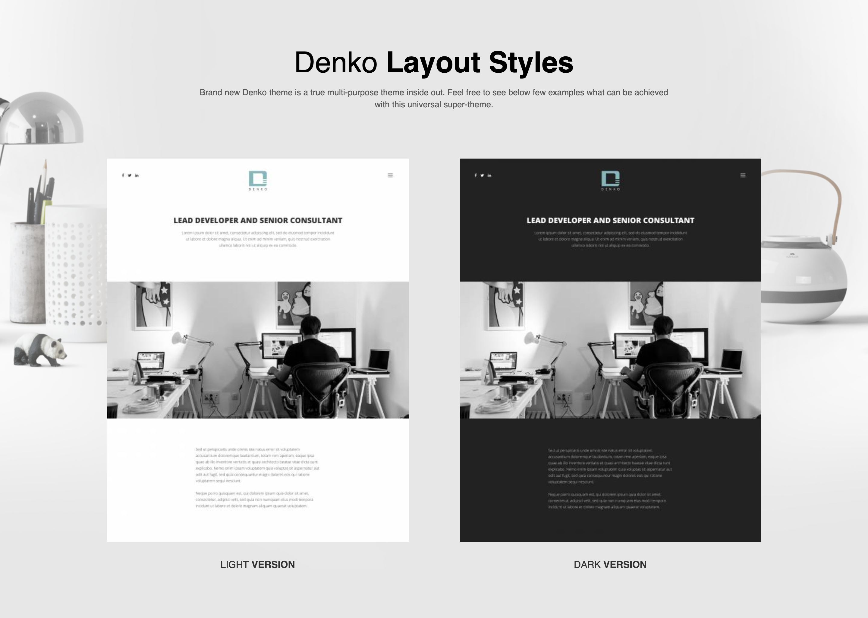 Two Layouts of Denko WordPress theme