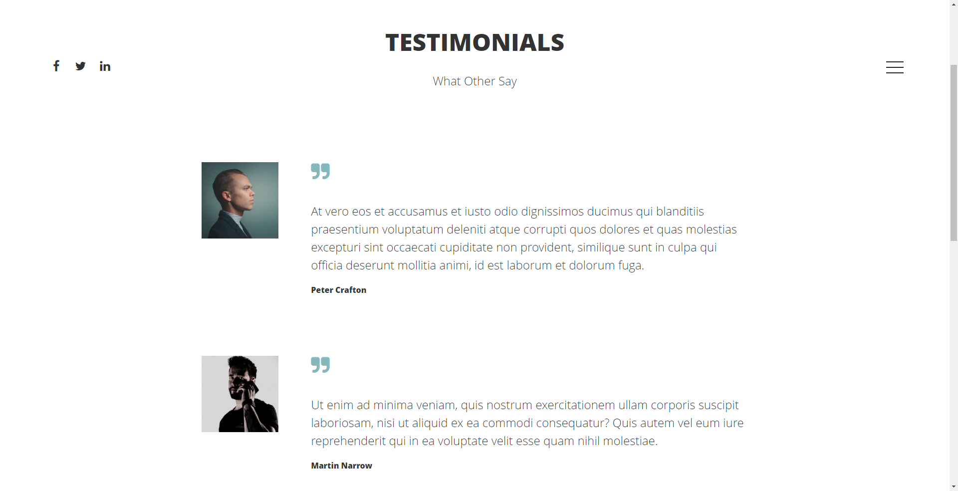 Testimonial posts in Denko Theme