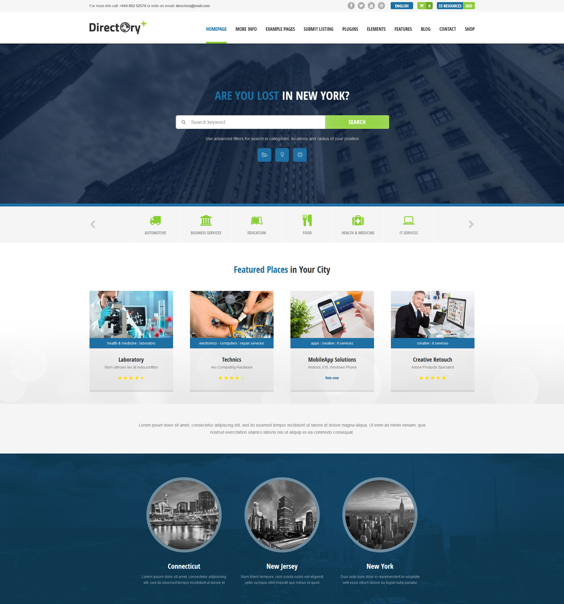 WordPress theme for business directory website