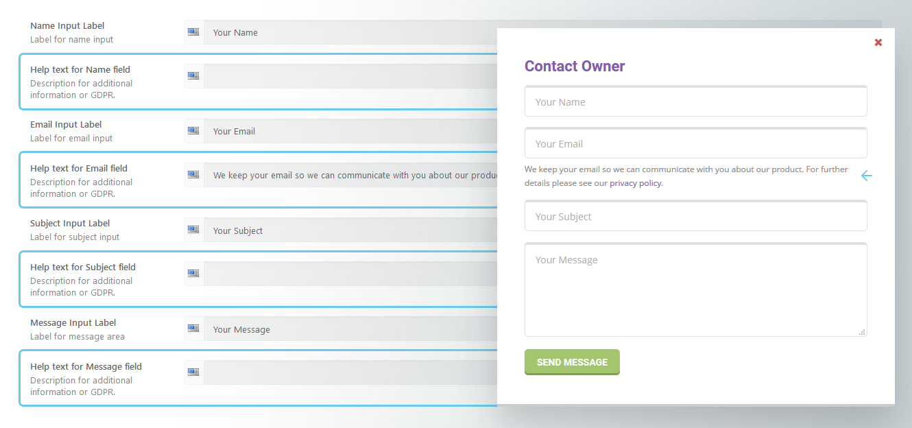 Contact Owner form