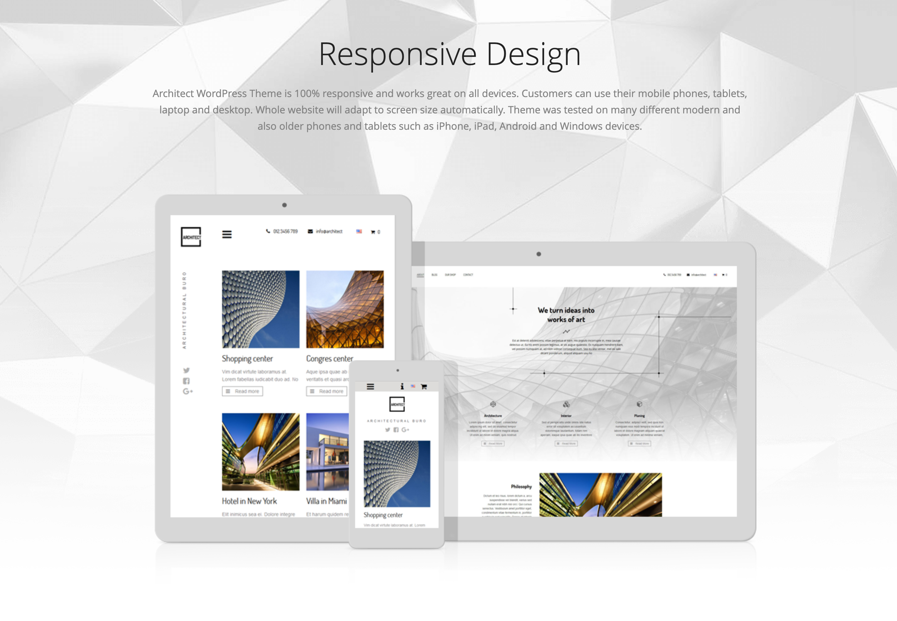 Responsive desigh of Architect WordPress theme