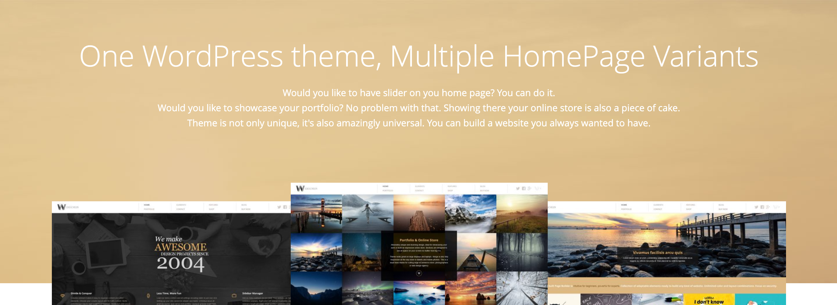 Widescreen WordPress theme home page variants