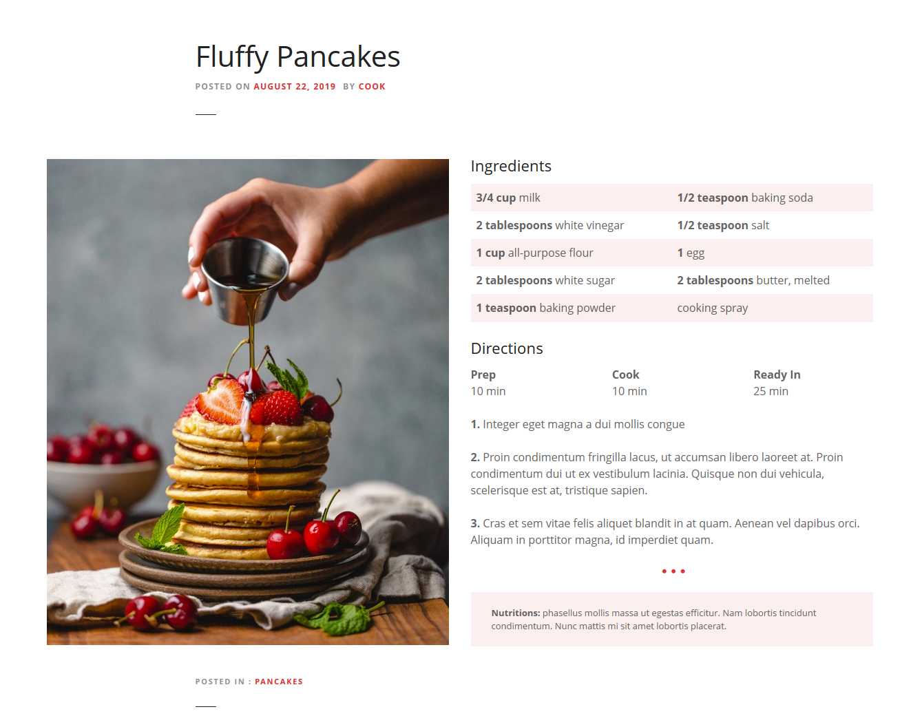 Tables in WordPress – used in food blog recipes