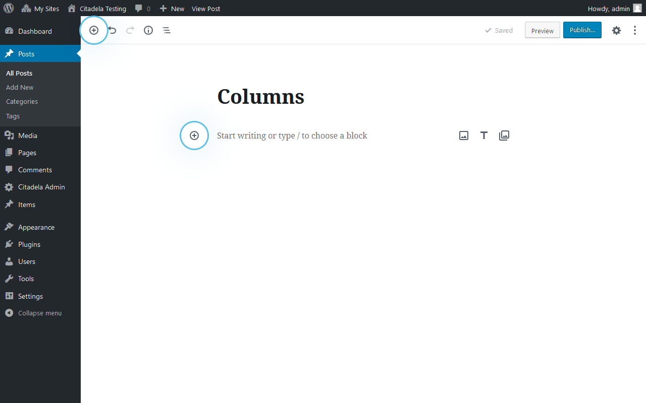"Add columns in WordPress by clicking on ""+"""