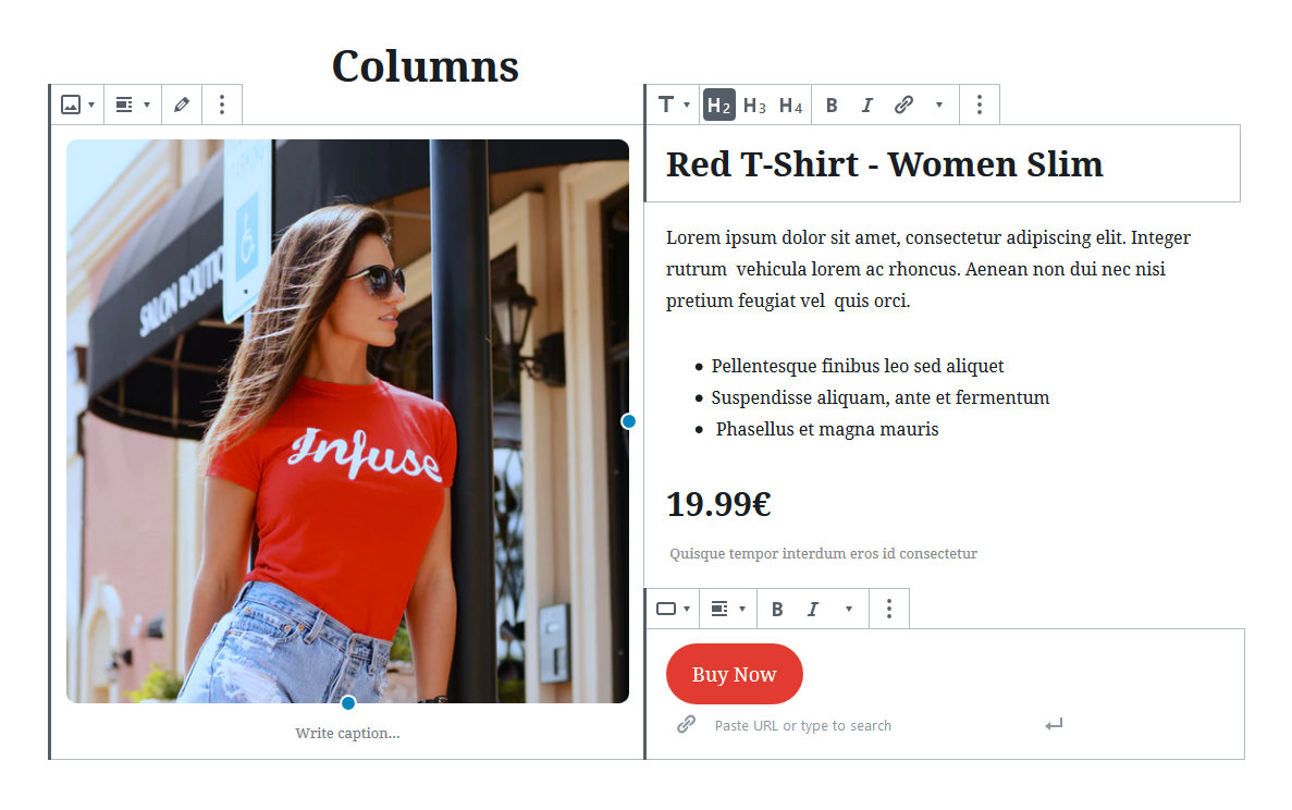 Different types of content in multi columns layout