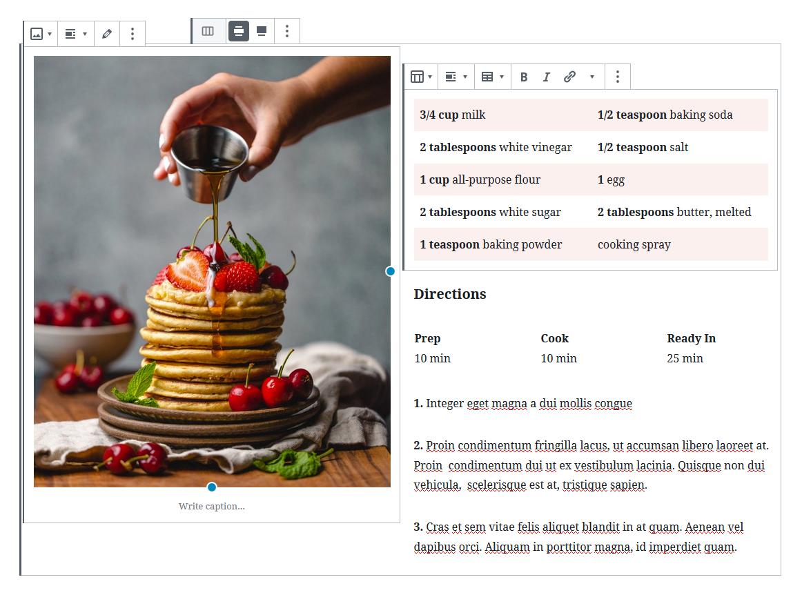 Nested table in WordPress Columns block