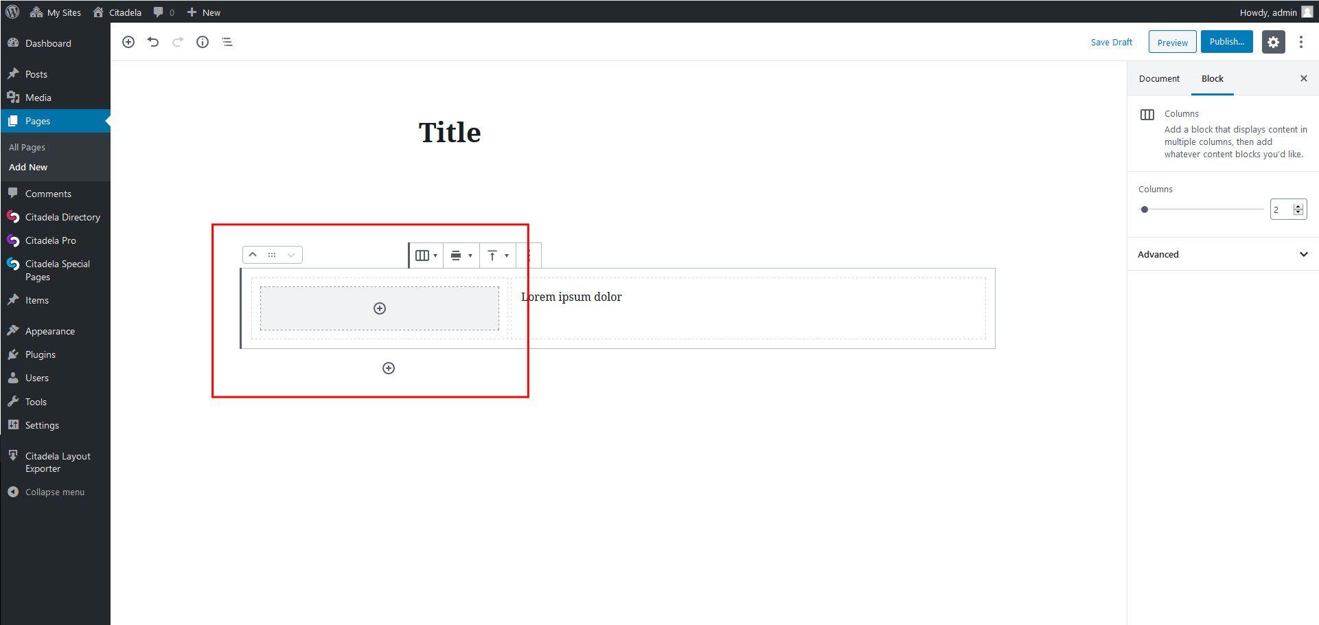 Block appender in WordPress Columns block