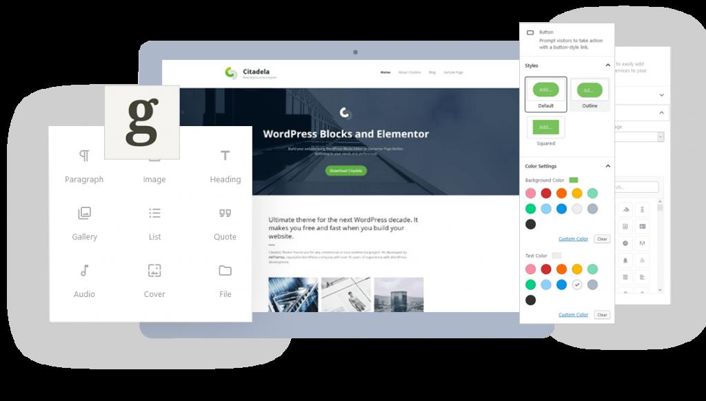 Citadela Free WordPress theme works with WordPress block editor and Elementor