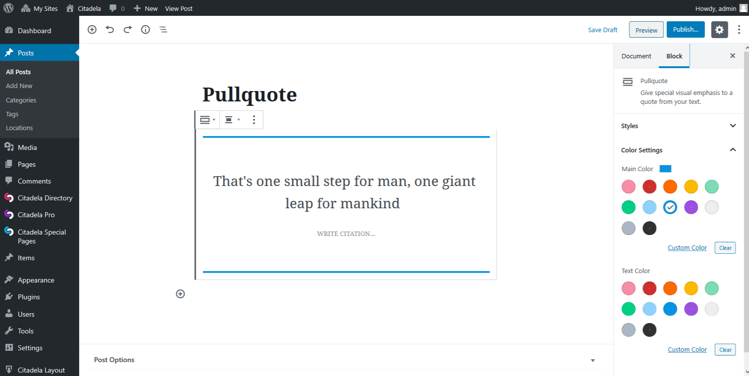 Pullquote Default style