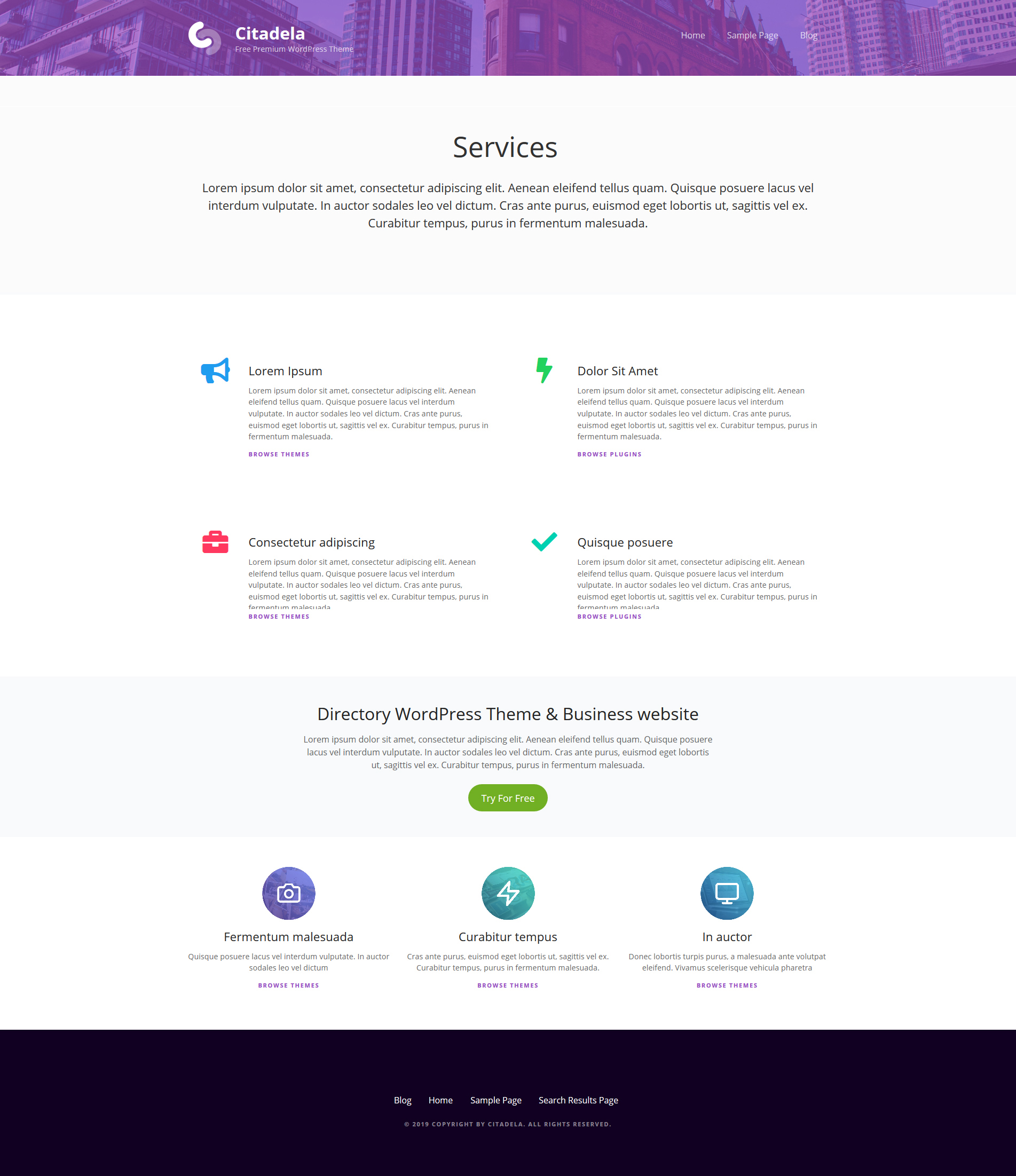 Services page created by more Service blocks
