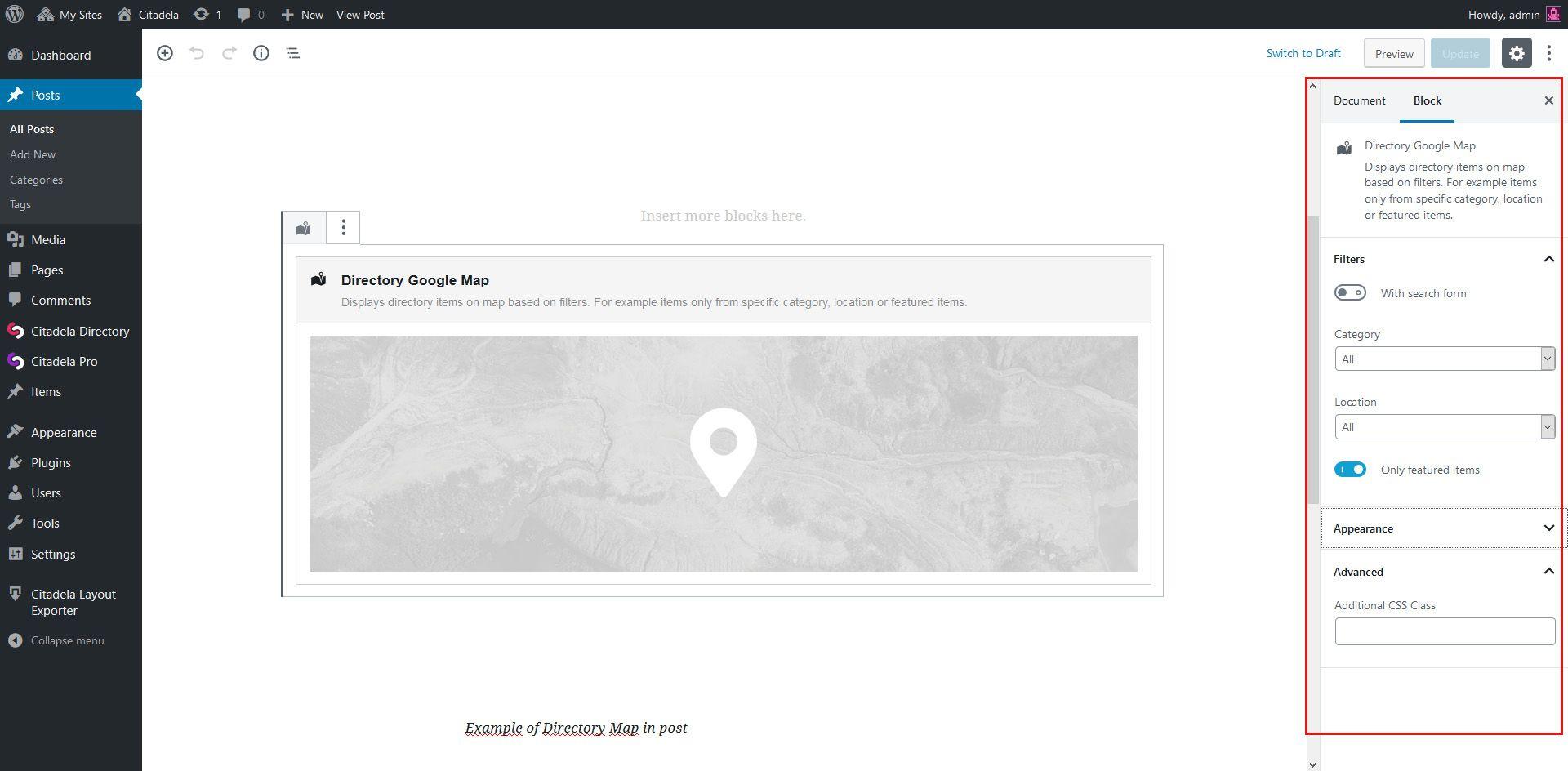 Google Map settings