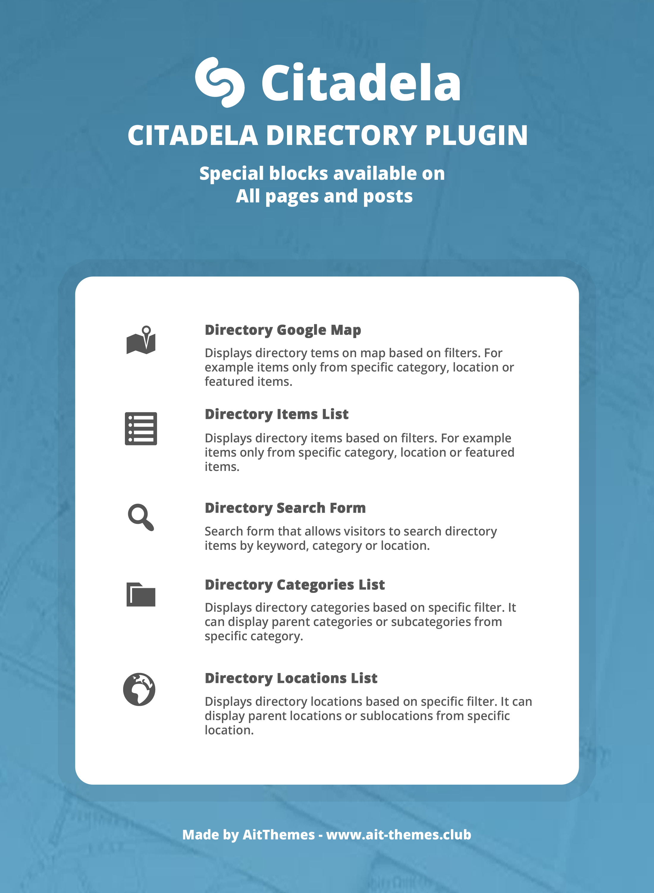 Infographics of special directory blocks for pages and posts
