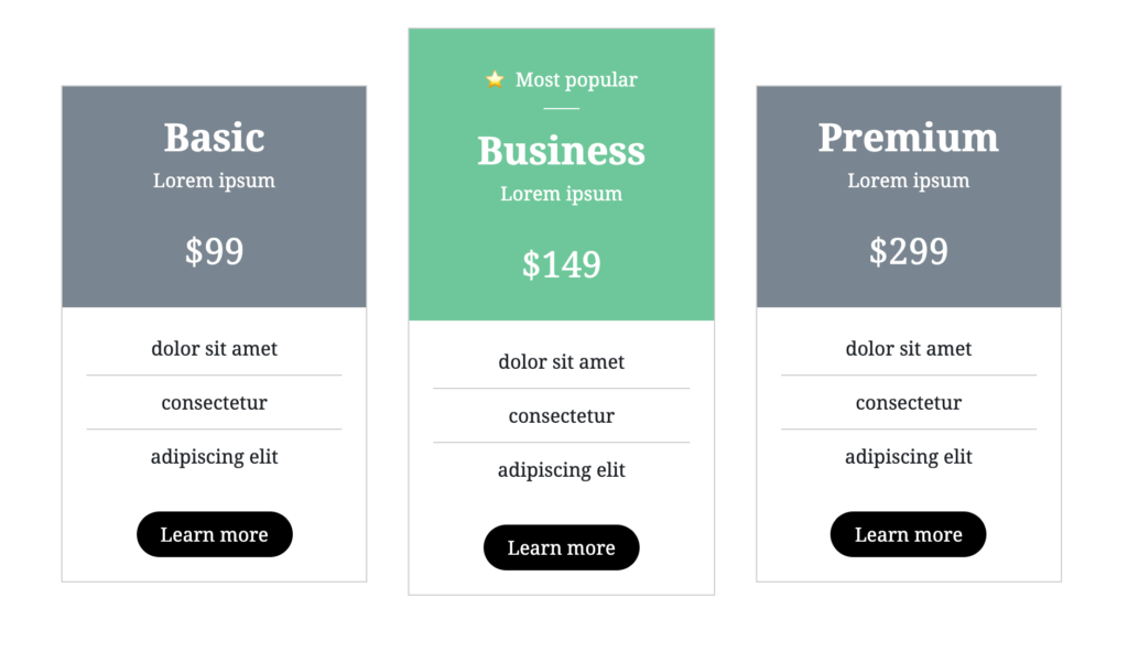 Pricing table made with special WP block