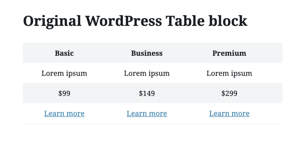 Table block of WordPress
