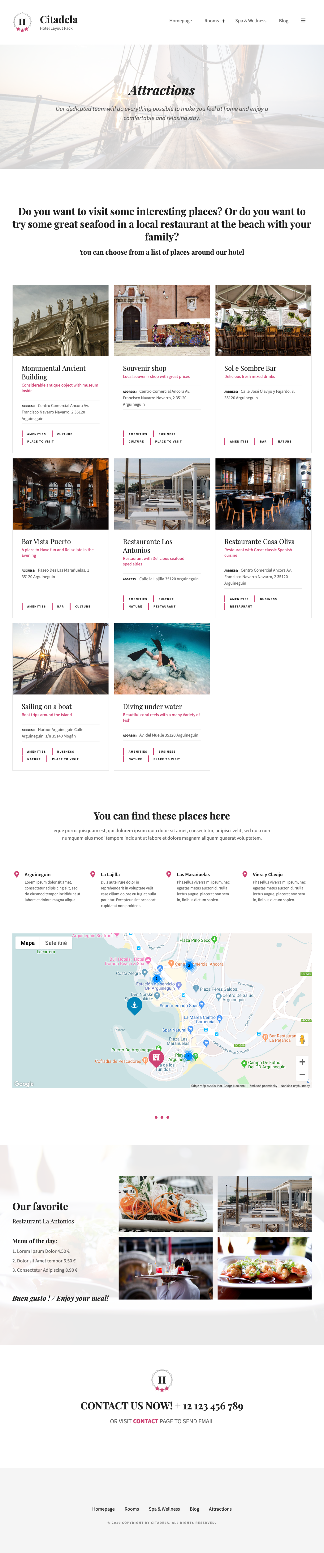 Attraction Map Hotel WordPress Theme