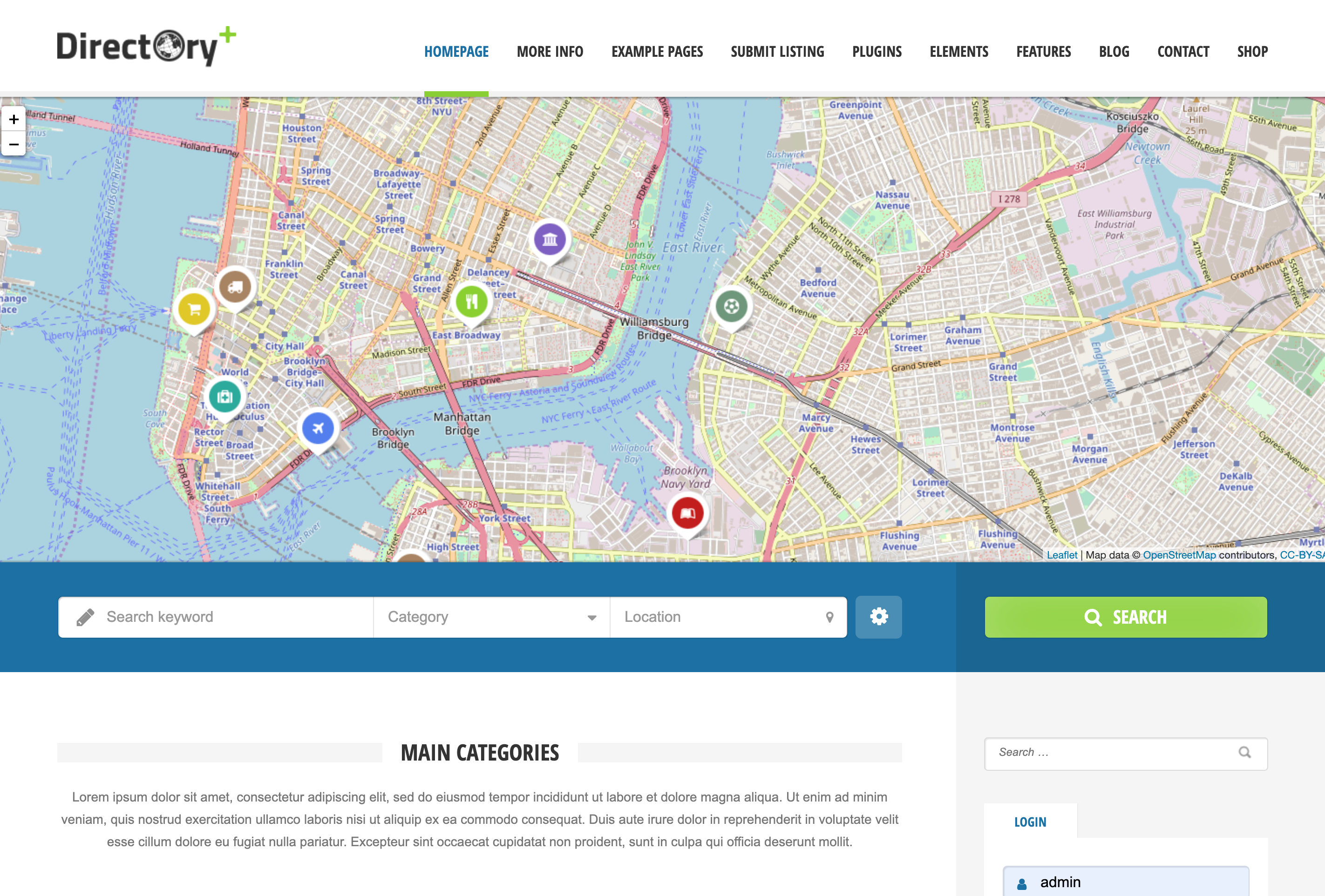 WordPress Theme with OpenStreetMap