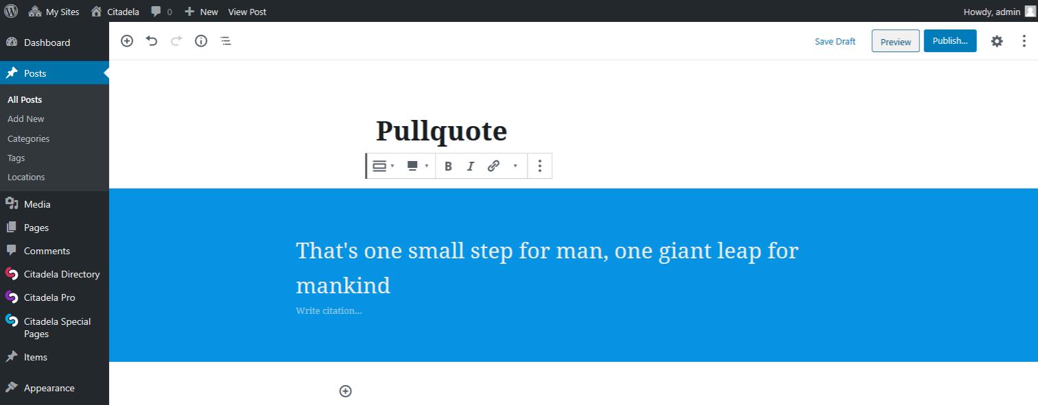 Full width alignment of Pullqoute block