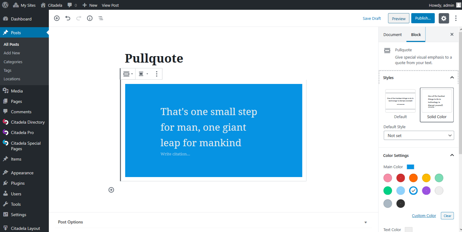 Pullquote Solid color