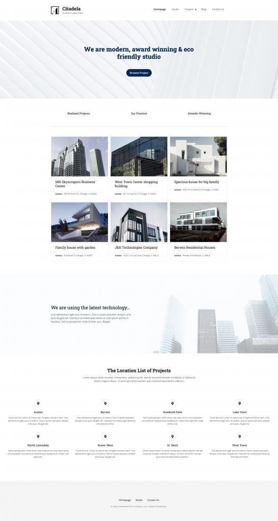 Architect Citadela WordPress theme layout