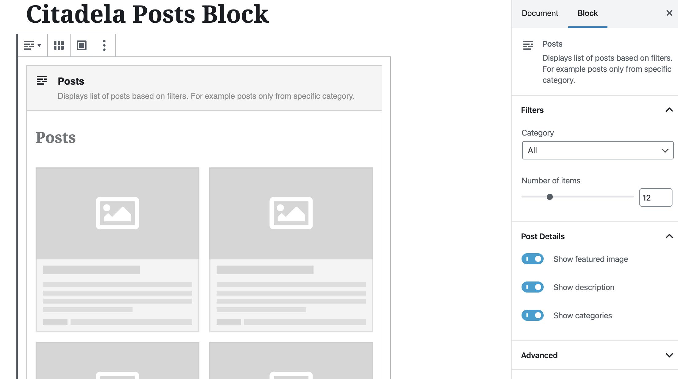 Blog posts display WordPress website