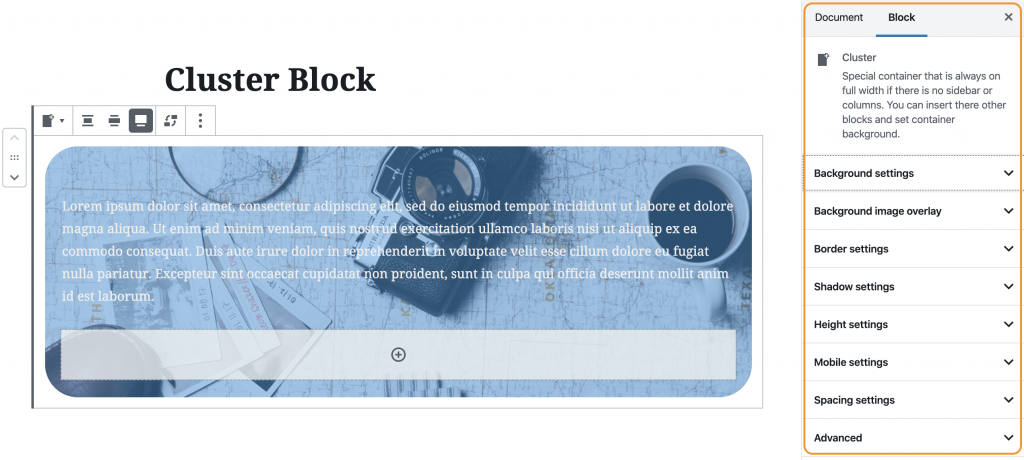 Cluster Block WordPress Gutenberg Editor