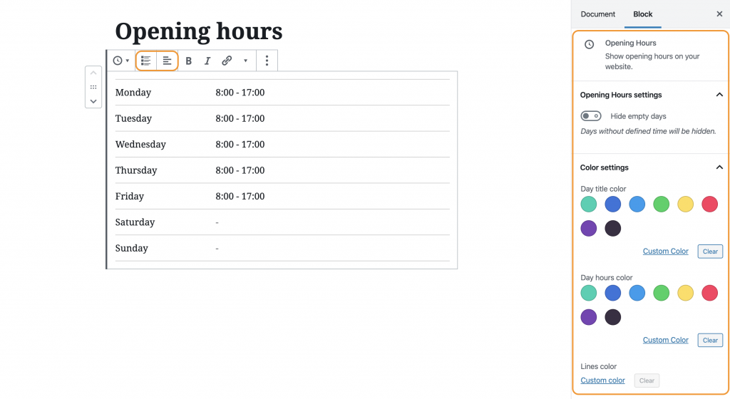 Opening hours block WordPress Gutenberg Editor Citadela Theme Blocks Plugin