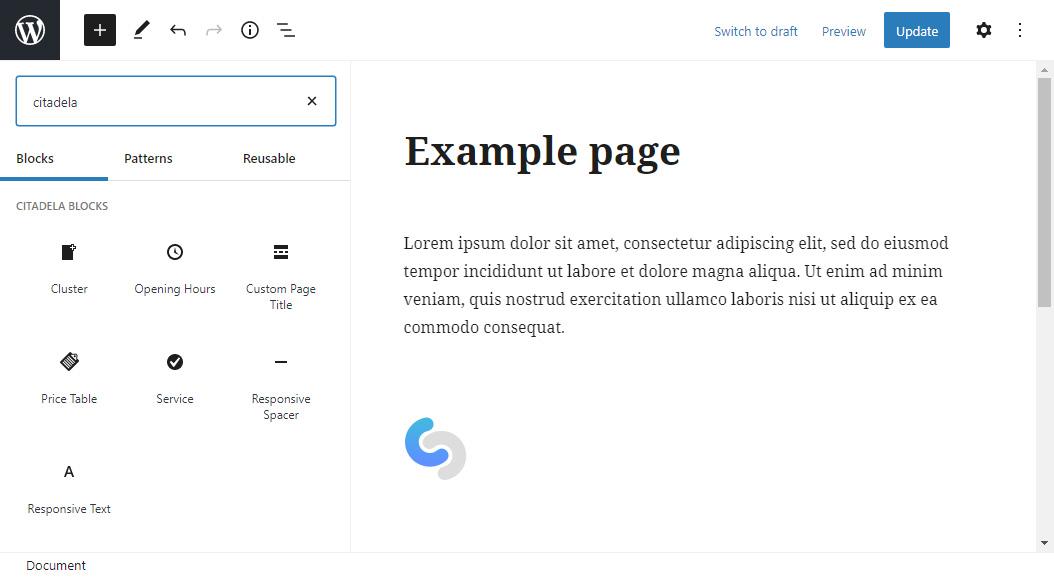 WordPress blocks included in Citadela Blocks plugin
