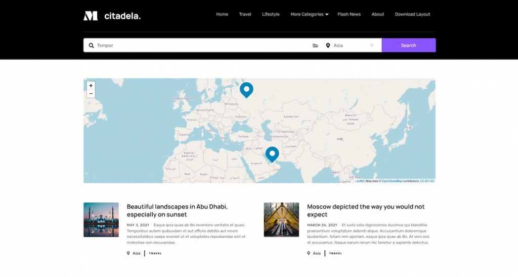 Blog post search by location and category in online magazine web