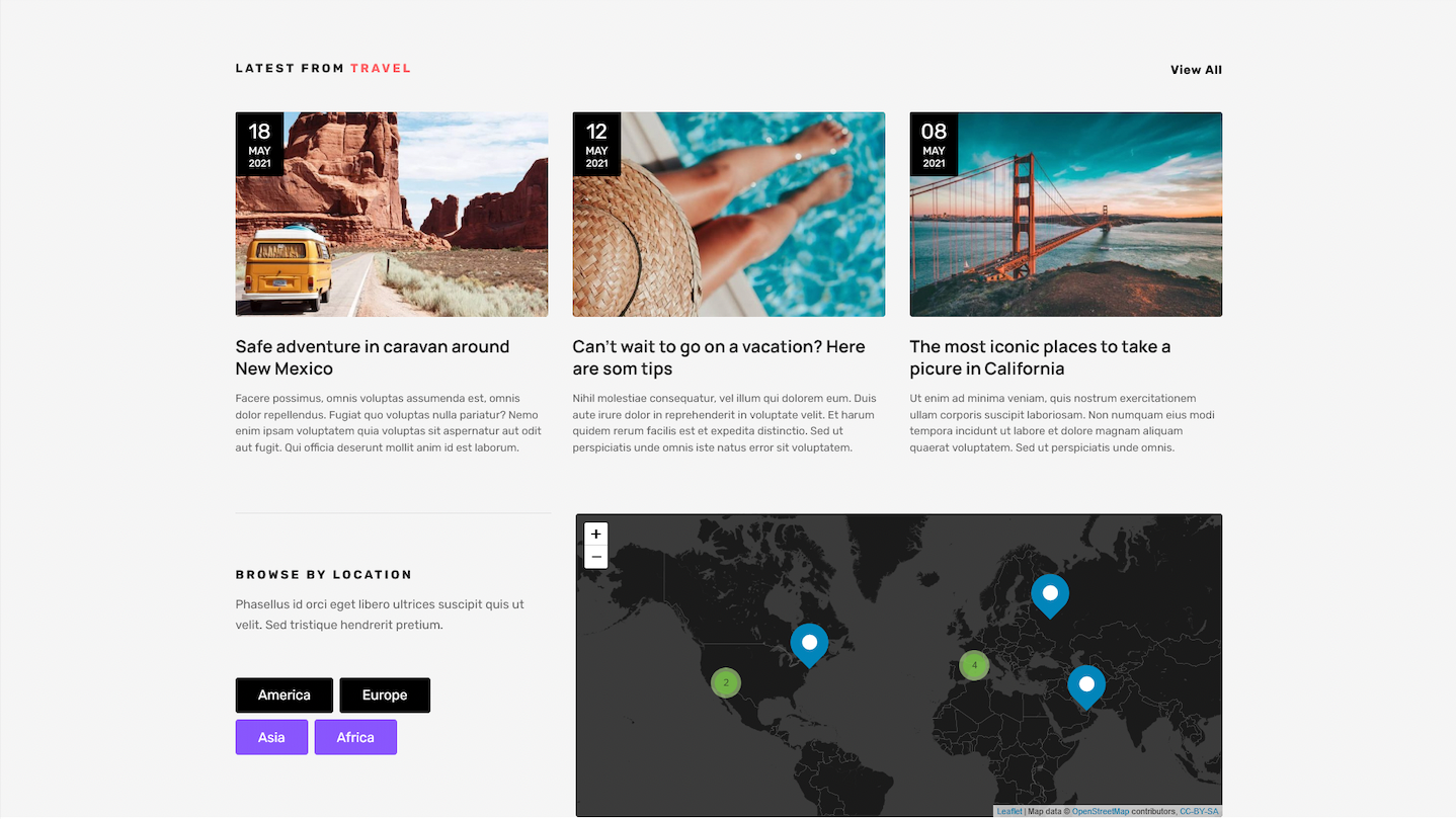 Interactive map with blog posts in Magazine WordPress theme