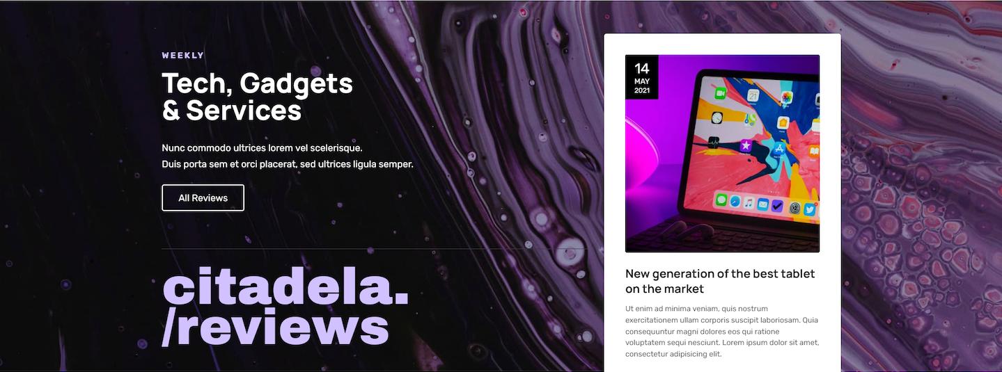 Magazine WordPress theme promo section