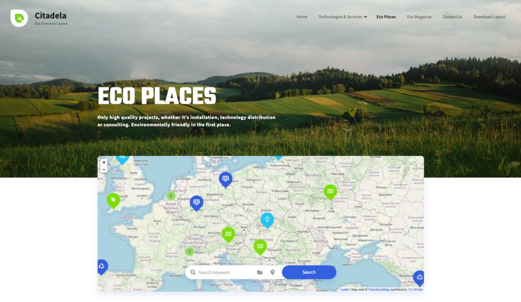 Citadela Eco WordPress Directory theme layout
