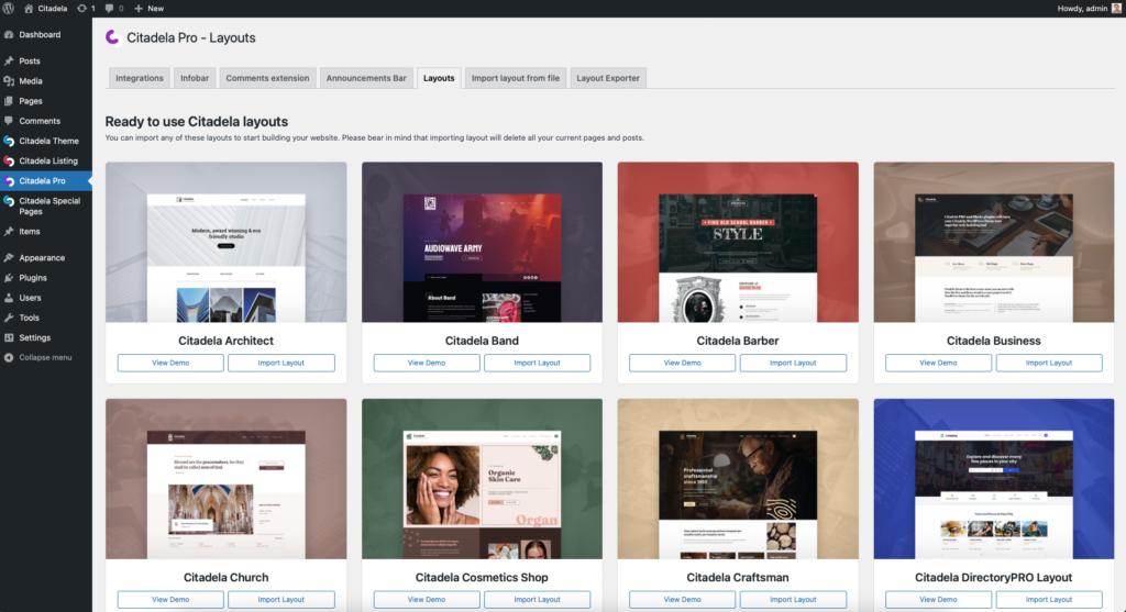 Importing Citadela WordPress layout packs