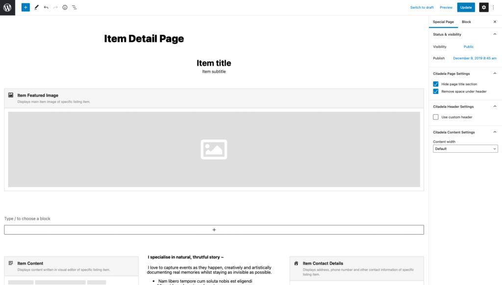 Editing WordPress directory theme item