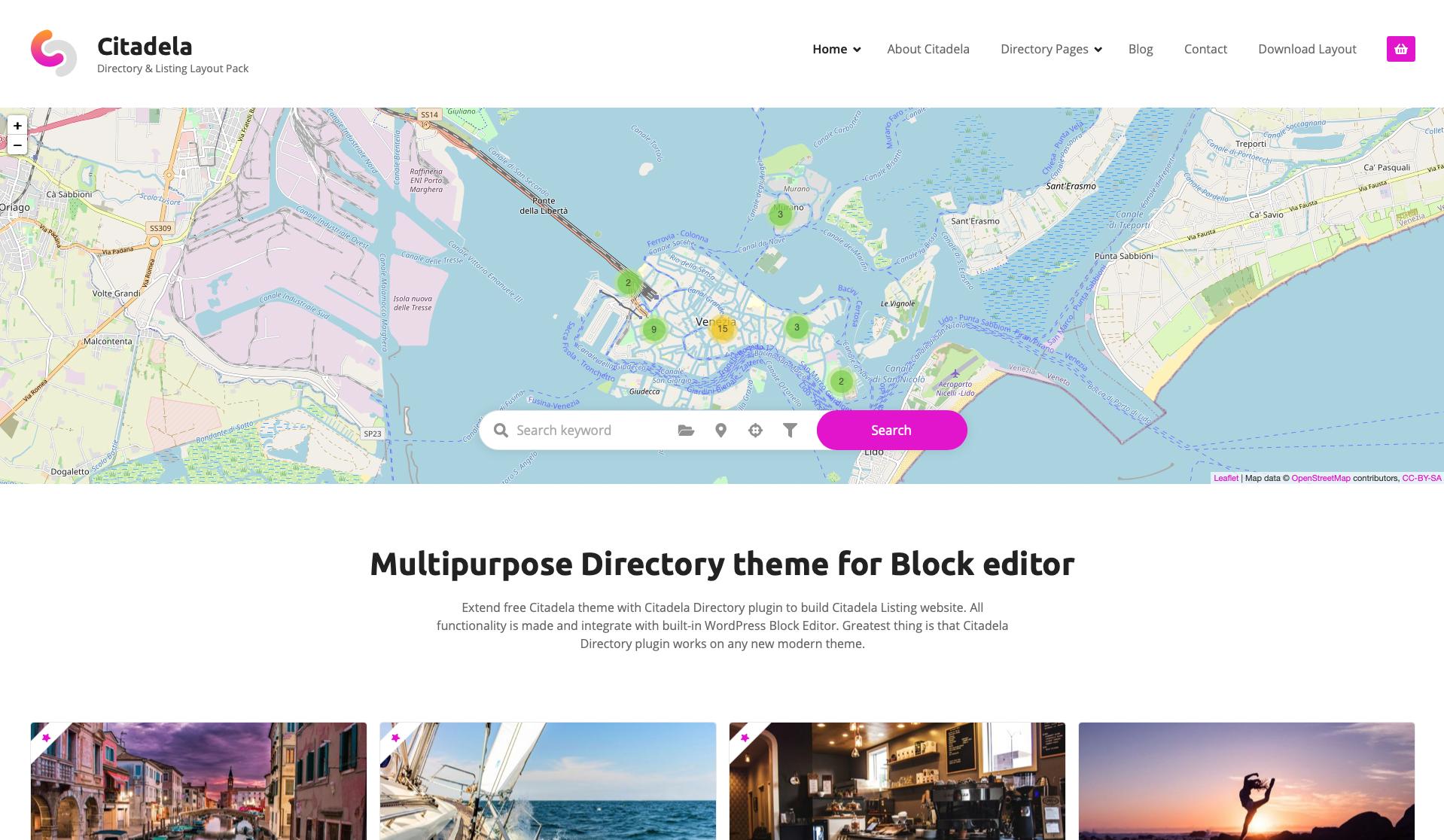 WordPress Directory theme layout called Citadela Listing