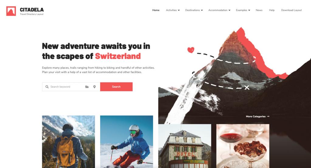 Example of travel WordPress Directory theme built with Citadela