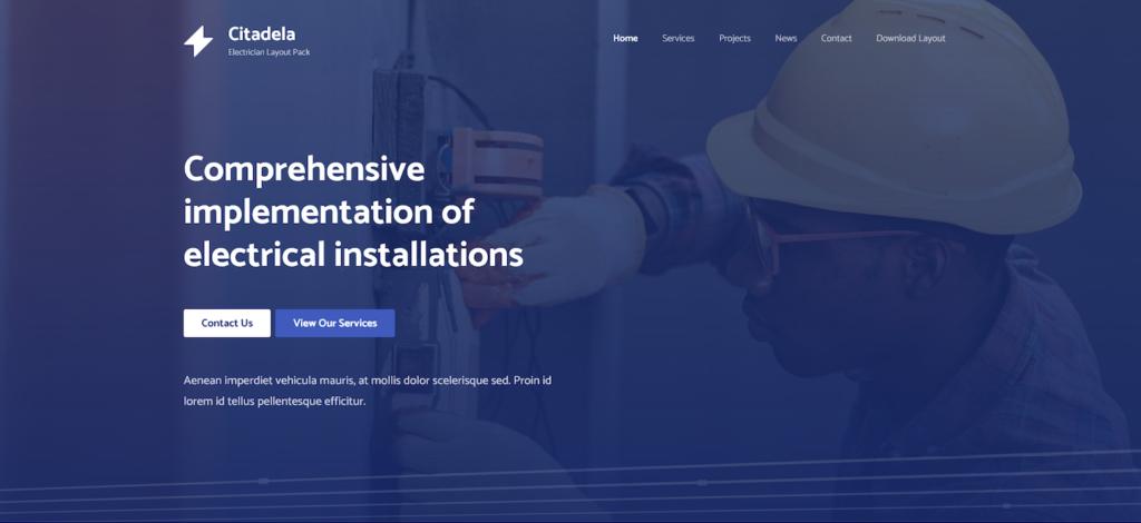 Electrician wordpress theme homepage header