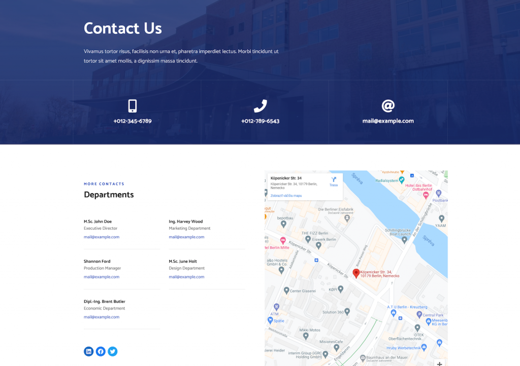 Contact page on the electrician wordpress theme built with Citadela