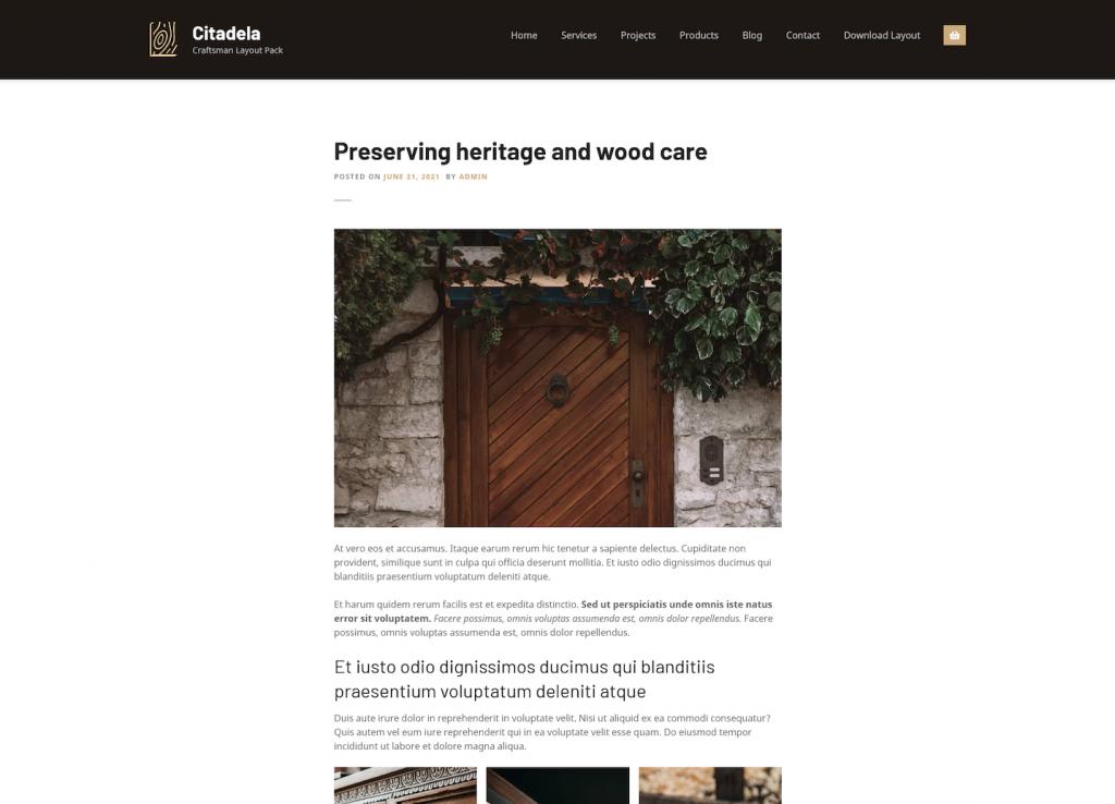 Craftsman WordPress theme blog post